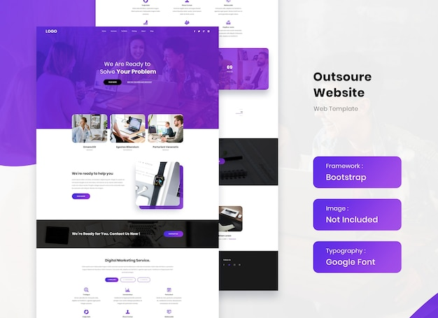 Outsourcing service website website landing template design