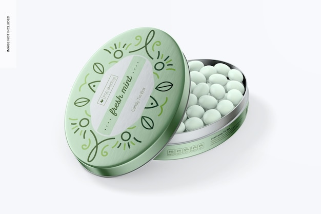 Oval candy tin box mockup, geöffnet