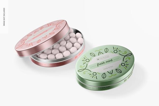 Ovale süßigkeiten blechdosen mockup