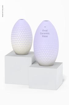 Ovales keramikvasen-set mockup, perspektive