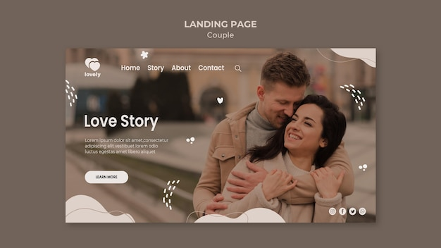 Paar konzept konzept landing page design