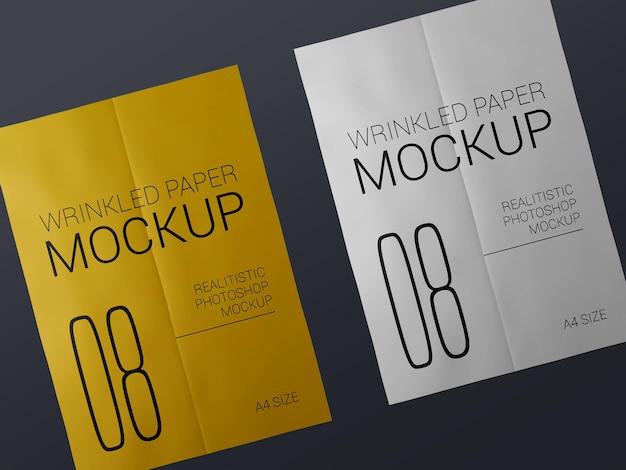 Paar realistische faltige plakatschablonenmodell. klebepapier nass zerknitterte plakate modell