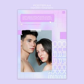 Paar zusammen holographische flyerschablone des digitalismus