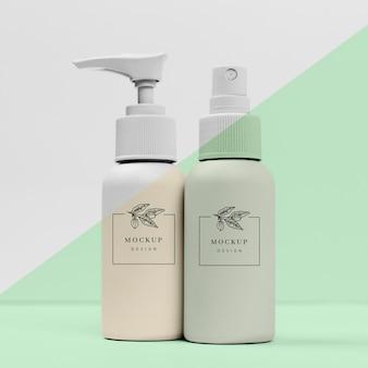 Packung flaschen mit schönheitsprodukten