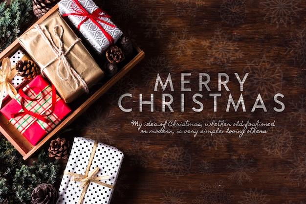 Packung geschenke für weihnachten urlaub