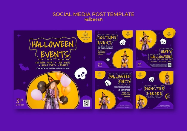Paket mit social-media-beiträgen zur halloween-party