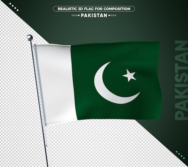 Pakistan flagge mit realistischer textur