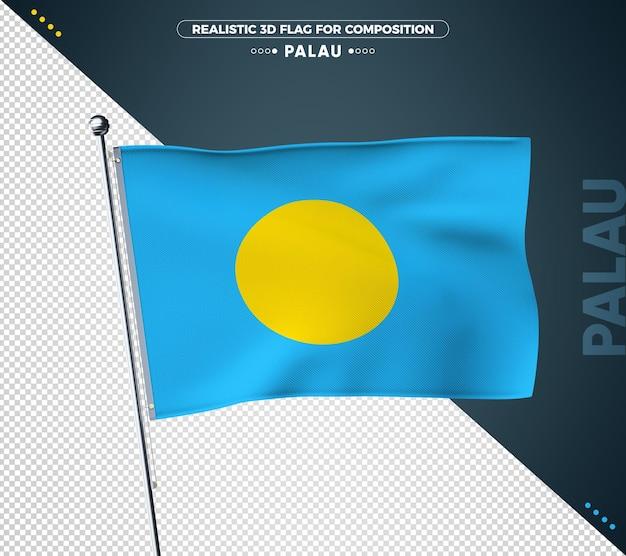 Palau flagge mit realistischer textur