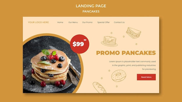 Pancakes restaurant landing page vorlage