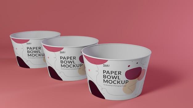 Paper bowl mockup für verpackungsdesign