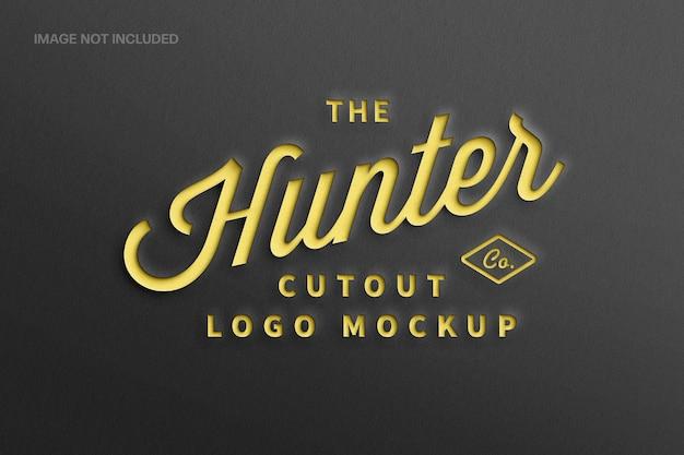 Papier ausgeschnittenes logo-mockup mit schwarz und gelb