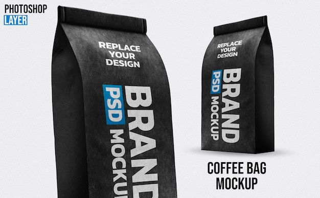 Papier kaffeebeutel mockup design
