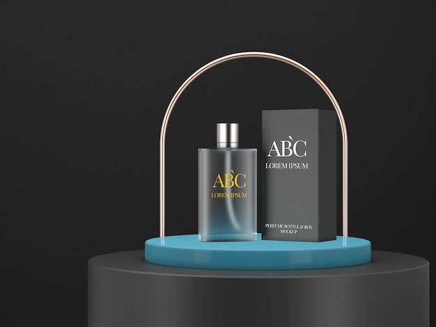Papierbox und parfümflaschenmodell