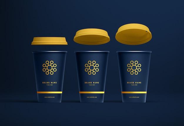 Papierkaffeetasse-modellsatz von drei vorderansicht