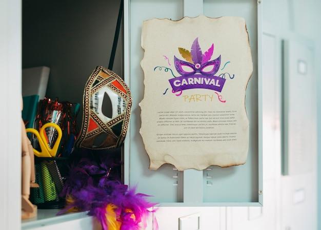 Papierseitenmodell mit karnevalskonzept