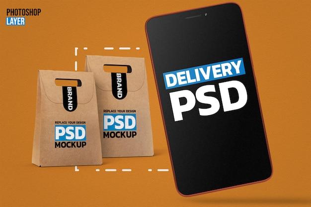 Papiertüten und smartphone-modell