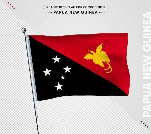 Papua-neuguinea-flagge mit realistischer textur