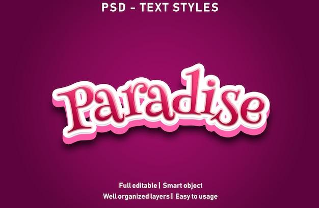 Paradies texteffekte stil bearbeitbare psd