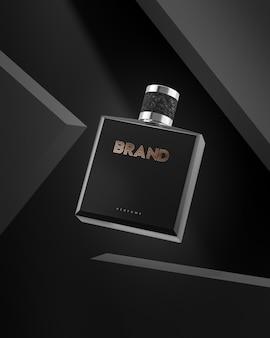 Parfüm-logo-modell auf schwarzem hintergrund für markenidentitäts-3d-rendering