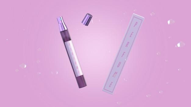 Parfüm-paketsatz des modell-3d-rendermodells für das produktdesign.