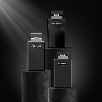 Parfümflaschenlogo-modell und branding auf 3d-render des schwarzen hintergrunds