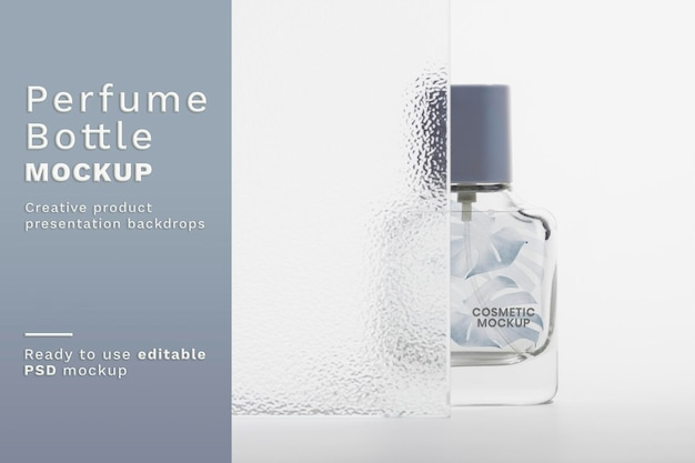 Parfümflaschenmodell psd mit gemustertem glastextur-produkthintergrund