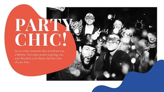 Party-chic-anzeigenvorlage psd-event, die präsentation organisiert