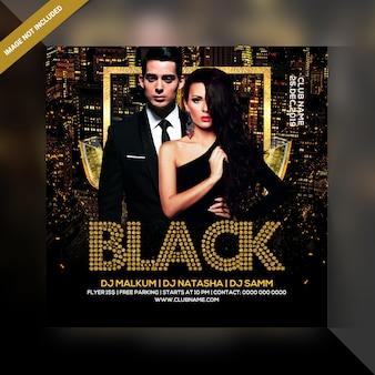 Party-flyer der schwarzen nacht