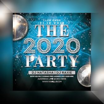 Party-flyer des neuen jahres 2020