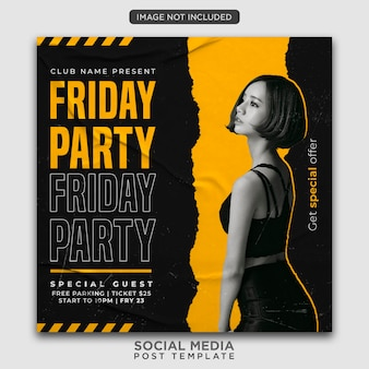 Party flyer vorlage oder social media post