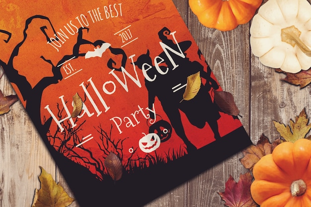 Party poster mockup mit halloween-design