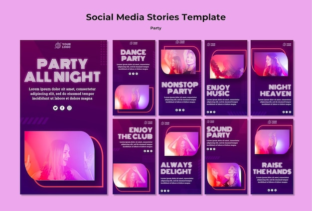 Party social media geschichten vorlage