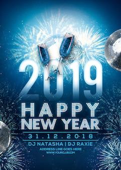 Partyplakat 2019 des neuen jahres