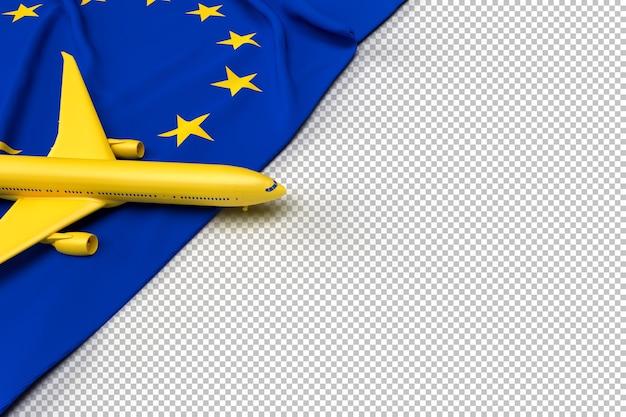Passagierflugzeug und flagge der europäischen union