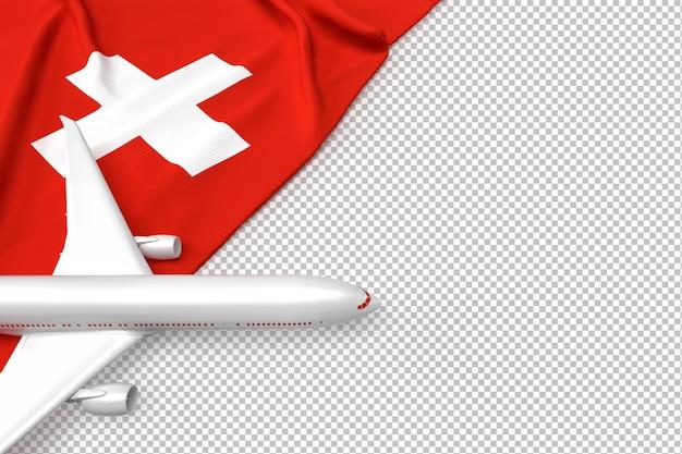 Passagierflugzeug und flagge der schweiz