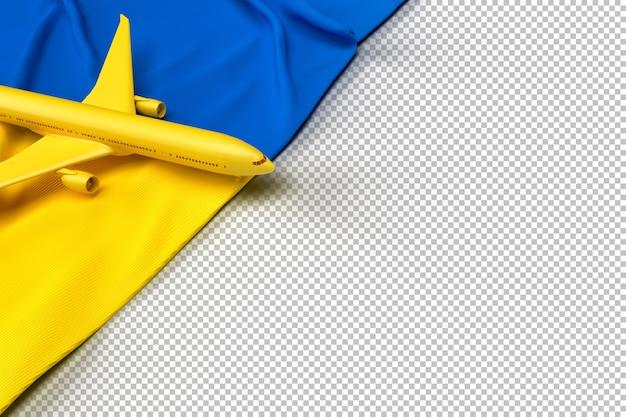 Passagierflugzeug und flagge der ukraine