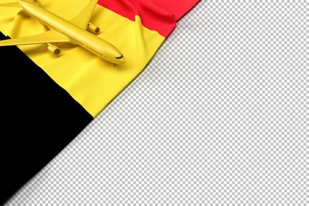 Passagierflugzeug und flagge von belgien