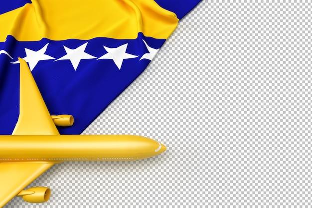 Passagierflugzeug und flagge von bosnien und herzegowina