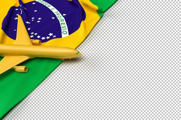 Passagierflugzeug und flagge von brasilien