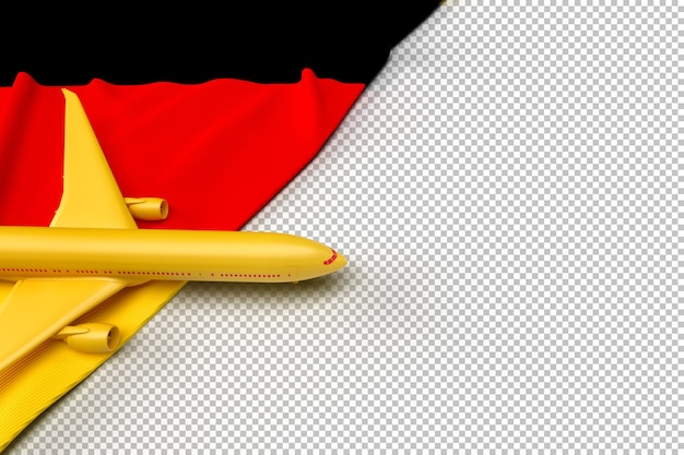 Passagierflugzeug und flagge von deutschland