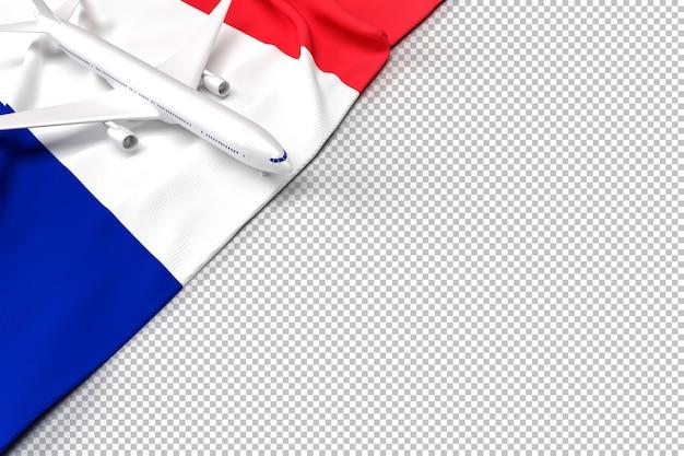 Passagierflugzeug und flagge von frankreich