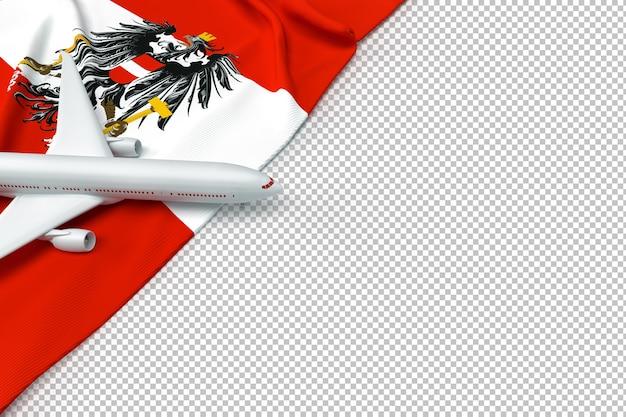 Passagierflugzeug und flagge von österreich