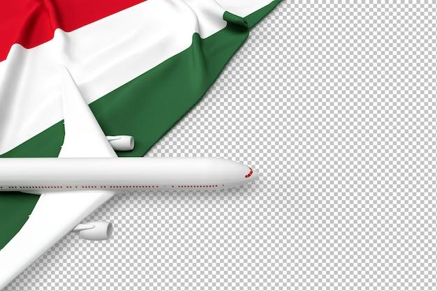 Passagierflugzeug und flagge von ungarn
