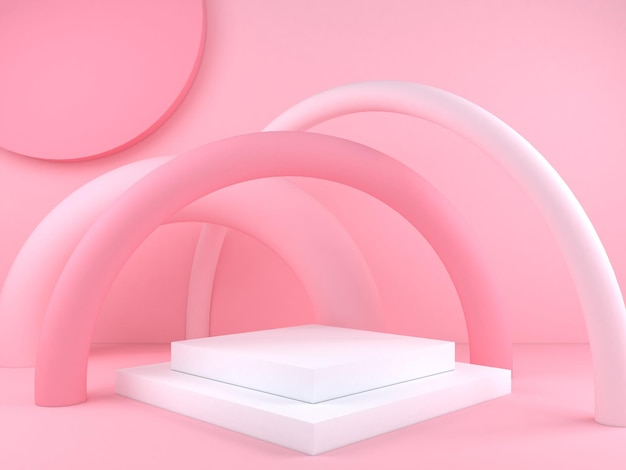 Pastellfarbener abstrakter geometrischer podiumshintergrund für branding und produktpräsentation 3d-rendering