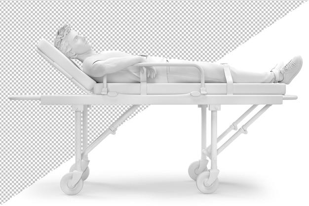 Patient auf einem beschneidungspfad einer krankenwagentrage