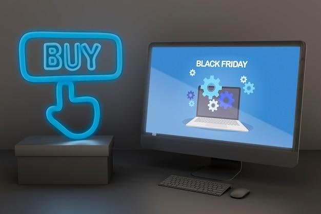 Pc-modell mit blauen neonlichtern