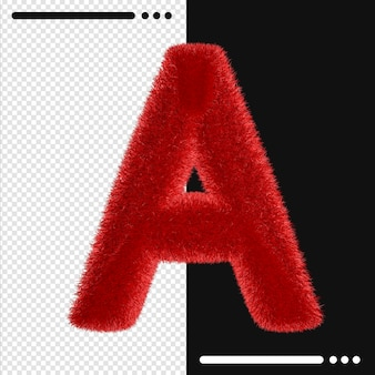 Pelz design alphabet a in 3d-rendering isoliert