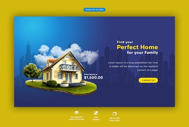 Perfektes zuhause für verkauf web banner vorlage