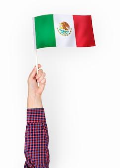 Person winkt die flagge der vereinigten mexikanischen staaten