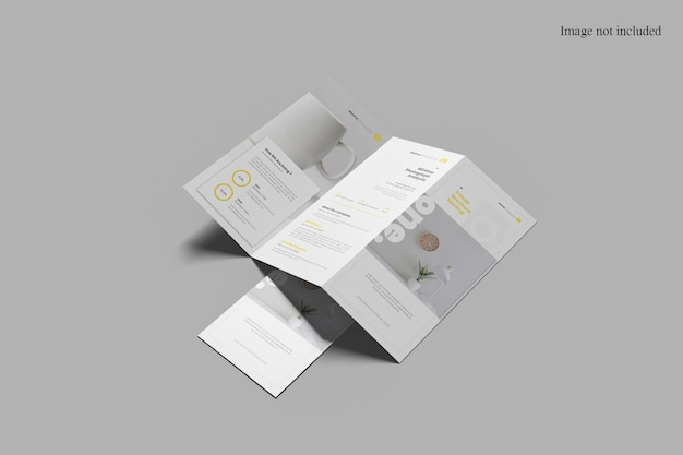 Perspective minimalist trifold broschüre mockup